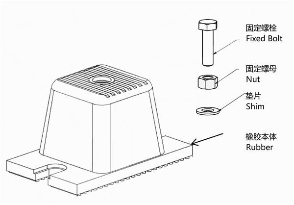 Installation instructions and drawings of JDF rubber shock absorber