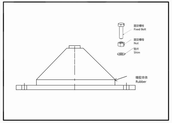 Installation Instructions and Drawings of JGD Rubber Shock Absorber